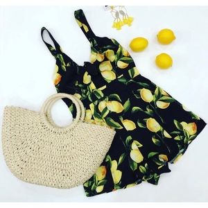 Pants - Black Lemon Print Front Tie Romper